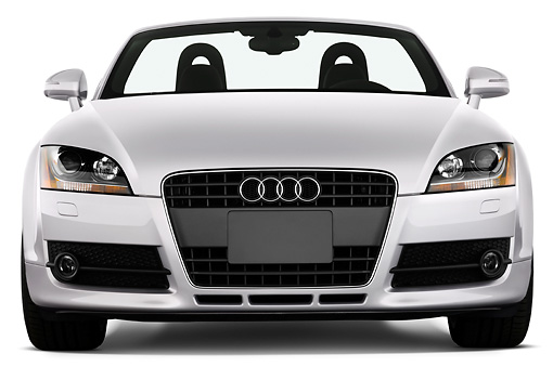 AUT 43 IZ0013 01 © Kimball Stock 2010 Audi TT Roadster Silver Head On View Studio