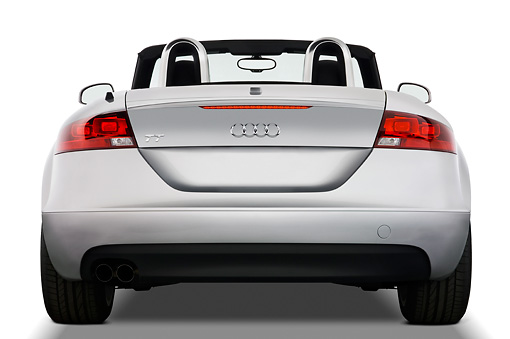 AUT 43 IZ0014 01 © Kimball Stock 2010 Audi TT Roadster Silver Rear View Studio