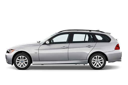 AUT 43 IZ0023 01 © Kimball Stock 2011 BMW 3 Series Station Wagon Silver Profile View Studio
