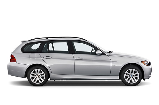AUT 43 IZ0024 01 © Kimball Stock 2011 BMW 3 Series Station Wagon Silver Profile View Studio