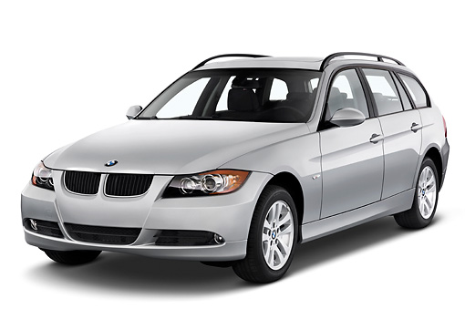 AUT 43 IZ0025 01 © Kimball Stock 2011 BMW 3 Series Station Wagon Silver 3/4 Front View Studio