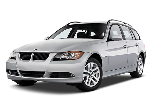AUT 43 IZ0026 01 © Kimball Stock 2011 BMW 3 Series Station Wagon Silver 3/4 Front View Studio