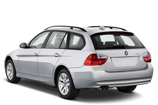 AUT 43 IZ0027 01 © Kimball Stock 2011 BMW 3 Series Station Wagon Silver 3/4 Rear View Studio