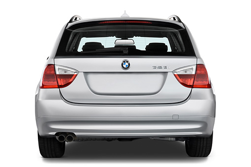AUT 43 IZ0028 01 © Kimball Stock 2011 BMW 3 Series Station Wagon Silver Rear View Studio