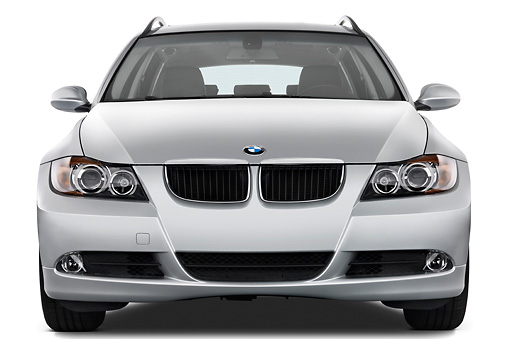 AUT 43 IZ0029 01 © Kimball Stock 2011 BMW 3 Series Station Wagon Silver Head On View Studio