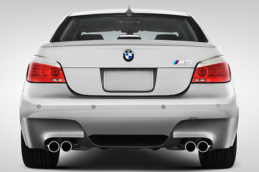 AUT 43 IZ0030 01 © Kimball Stock 2010 BMW M5 Silver Rear View Studio