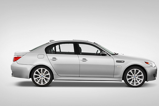 AUT 43 IZ0036 01 © Kimball Stock 2010 BMW M5 Silver Profile View Studio