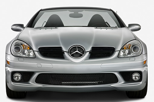 AUT 43 IZ0039 01 © Kimball Stock 2008 Mercedes-Benz SLK 55 AMG Silver Head On View Studio