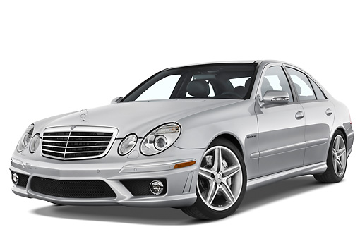 AUT 43 IZ0063 01 © Kimball Stock 2009 Mercedes-Benz E63 AMG Silver 3/4 Front View Studio