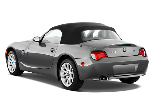 AUT 43 IZ0070 01 © Kimball Stock 2008 BMW Z4 Roadster Gray 3/4 Rear View Studio