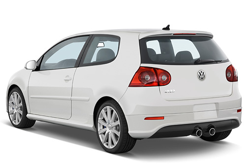 AUT 43 IZ0082 01 © Kimball Stock 2008 Volkswagen R32 White 3/4 Rear View Studio