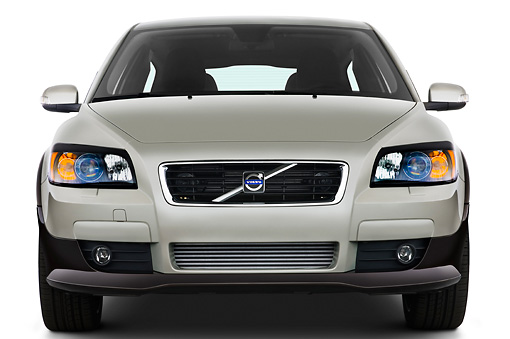 AUT 43 IZ0090 01 © Kimball Stock 2010 Volvo C30 Silver Head On View Studio