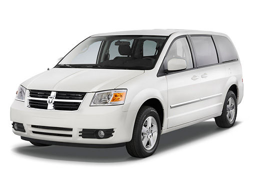 AUT 43 IZ0172 01 © Kimball Stock 2010 Dodge Grand Caravan SXT White 3/4 Front View Studio
