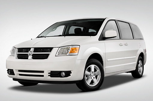 AUT 43 IZ0173 01 © Kimball Stock 2010 Dodge Grand Caravan SXT White 3/4 Front View Studio