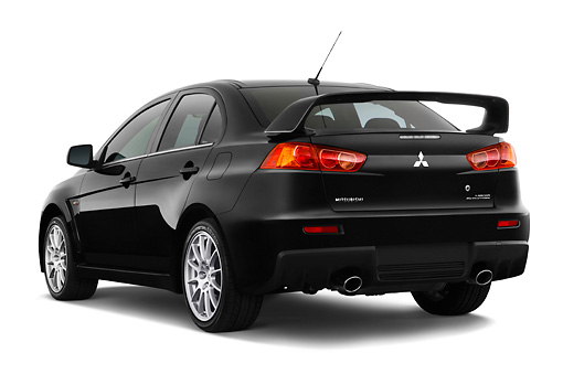 AUT 43 IZ0194 01 © Kimball Stock 2008 Mitsubishi Lancer Evolution Black 3/4 Rear View Studio