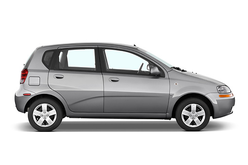 AUT 43 IZ0242 01 © Kimball Stock 2008 Chevrolet Aveo5 LS Gray Profile View Studio