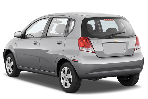 AUT 43 IZ0243 01 © Kimball Stock 2008 Chevrolet Aveo5 LS Gray 3/4 Rear View Studio