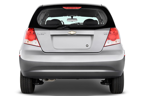 AUT 43 IZ0244 01 © Kimball Stock 2008 Chevrolet Aveo5 LS Gray Rear View Studio