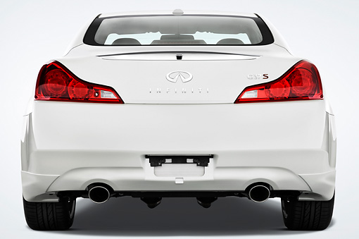 AUT 43 IZ0284 01 © Kimball Stock 2009 Infiniti G37 Sport 6MT White Rear View Studio
