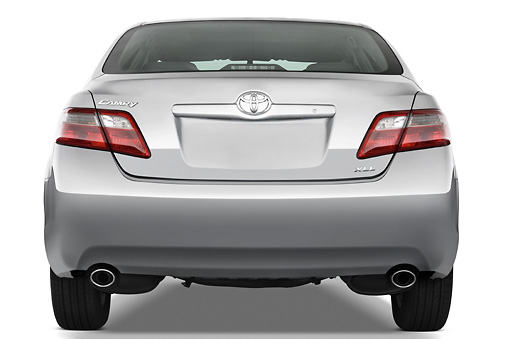 AUT 43 IZ0298 01 © Kimball Stock 2009 Toyota Camry XLE Silver Rear View Studio