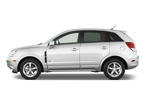 AUT 43 IZ0469 01 © Kimball Stock 2010 Saturn Vue Greenline Silver Profile View Studio