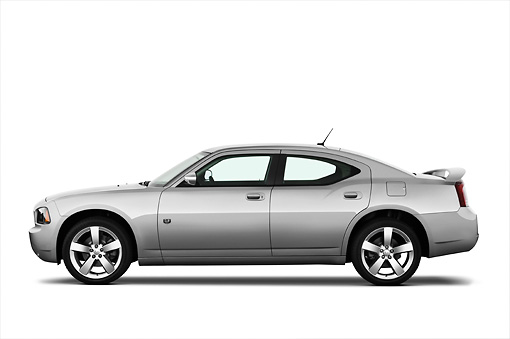 AUT 43 IZ0513 01 © Kimball Stock 2010 Dodge Charger DUB Edition Silver Profile View Studio