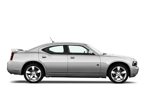 AUT 43 IZ0514 01 © Kimball Stock 2010 Dodge Charger DUB Edition Silver Profile View Studio