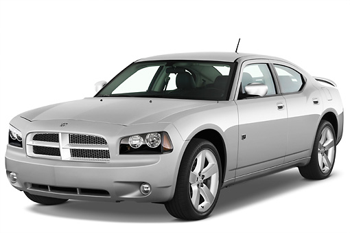 AUT 43 IZ0515 01 © Kimball Stock 2010 Dodge Charger DUB Edition Silver 3/4 Front View Studio