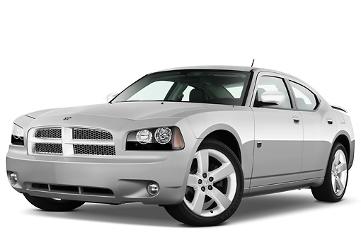 AUT 43 IZ0516 01 © Kimball Stock 2010 Dodge Charger DUB Edition Silver 3/4 Front View Studio