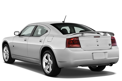 AUT 43 IZ0517 01 © Kimball Stock 2010 Dodge Charger DUB Edition Silver 3/4 Rear View Studio