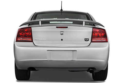AUT 43 IZ0518 01 © Kimball Stock 2010 Dodge Charger DUB Edition Silver Rear View Studio