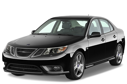 AUT 43 IZ0530 01 © Kimball Stock 2010 Saab 9-3 Turbo X Black 3/4 Front View Studio