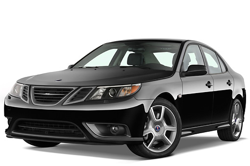 AUT 43 IZ0531 01 © Kimball Stock 2010 Saab 9-3 Turbo X Black 3/4 Front View Studio