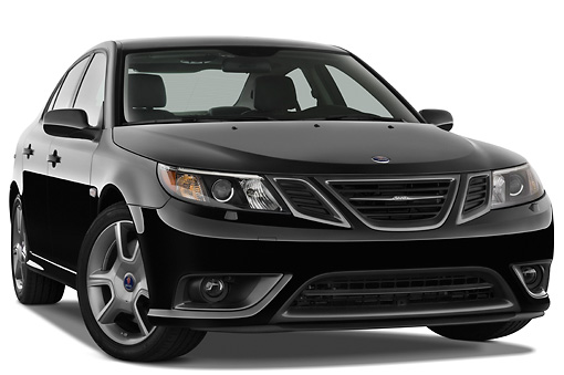 AUT 43 IZ0532 01 © Kimball Stock 2010 Saab 9-3 Turbo X Black 3/4 Front View Studio