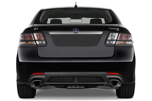 AUT 43 IZ0534 01 © Kimball Stock 2010 Saab 9-3 Turbo X Black Rear View Studio