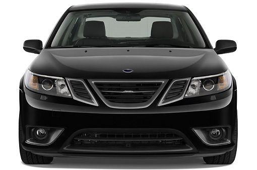 AUT 43 IZ0535 01 © Kimball Stock 2010 Saab 9-3 Turbo X Black Front View Studio