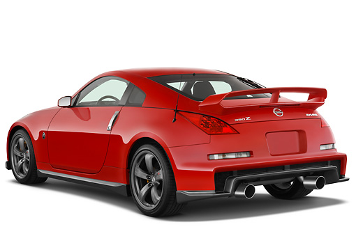 AUT 43 IZ0550 01 © Kimball Stock 2008 Nissan 350Z Nismo Red 3/4 Rear View Studio