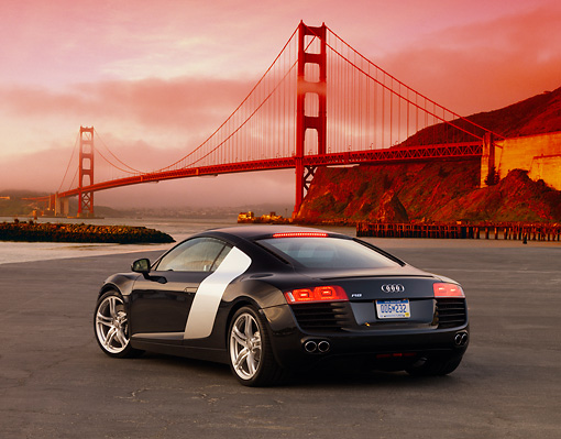 AUT 43 RK0006 01 © Kimball Stock 2008 Audi R8 Black 3/4 Rear View On Pavement Golden Gate Bridge SF