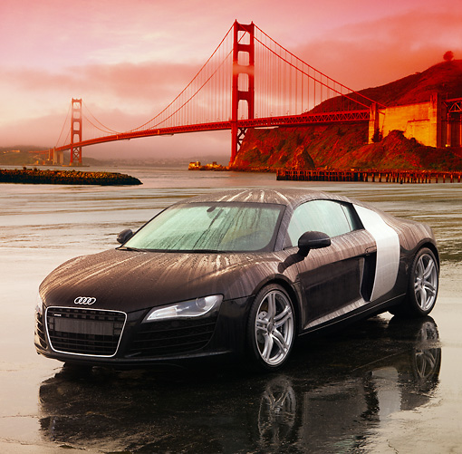 AUT 43 RK0010 01 © Kimball Stock 2008 Audi R8 Black 3/4 Front View On Pavement Golden Gate Bridge SF