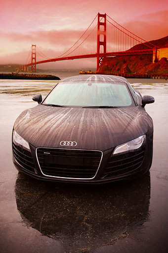AUT 43 RK0011 01 © Kimball Stock 2008 Audi R8 Black Head On View On Pavement Golden Gate Bridge SF