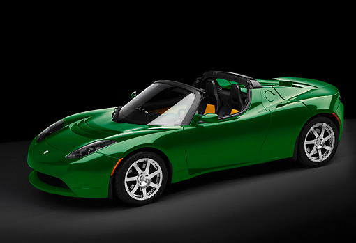 AUT 43 RK0040 01 © Kimball Stock 2008 Tesla Roadster Electric Green 3/4 Front View Studio