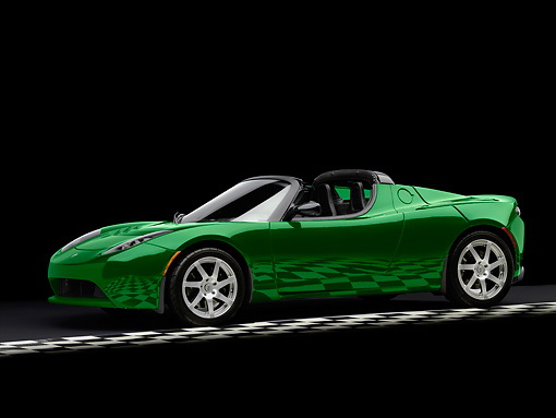 AUT 43 RK0046 01 © Kimball Stock 2008 Tesla Roadster Electric Low 3/4 Front View On Checkered Studio