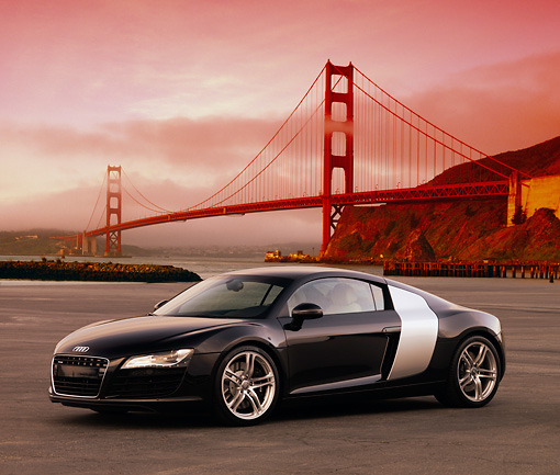 AUT 43 RK0050 01 © Kimball Stock 2008 Audi R8 Black 3/4 Side View On Pavement Golden Gate Bridge SF
