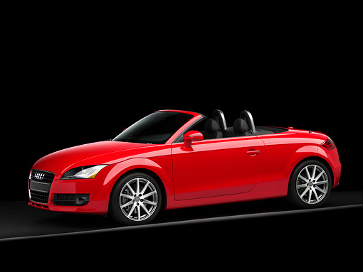 AUT 43 RK0051 01 © Kimball Stock 2008 Audi TT Roadster Red 3/4 Side View Studio