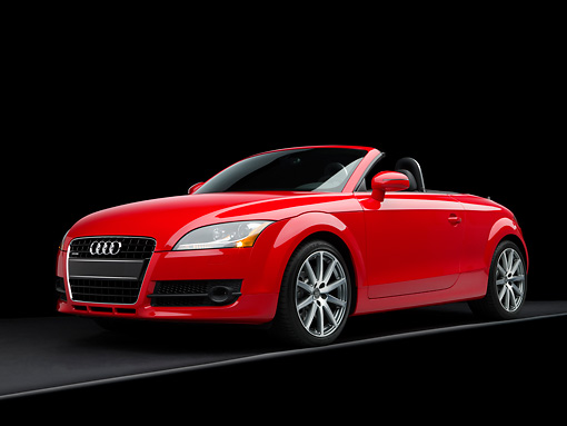 AUT 43 RK0052 01 © Kimball Stock 2008 Audi TT Roadster Red Low 3/4 Front View Studio