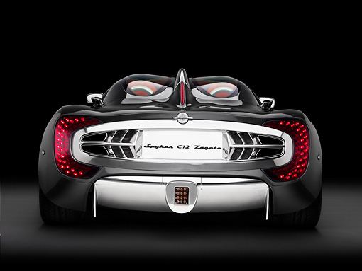 AUT 43 RK0070 01 © Kimball Stock 2008 Spyker C12 Zagato Gray Rear View Studio