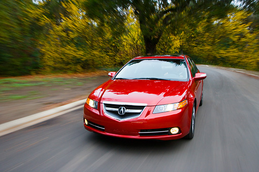 AUT 43 RK0136 01 © Kimball Stock 2008 Acura TL Type-S HPT Red 3/4 Front View Driving