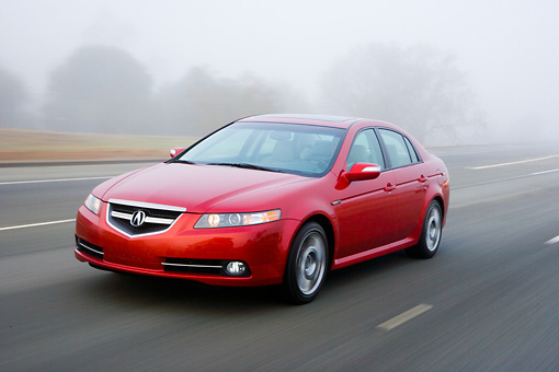 AUT 43 RK0139 01 © Kimball Stock 2008 Acura TL Type-S HPT Red 3/4 Front View Driving