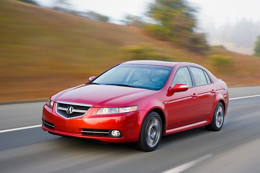 AUT 43 RK0143 01 © Kimball Stock 2008 Acura TL Type-S HPT Red 3/4 Front View Driving