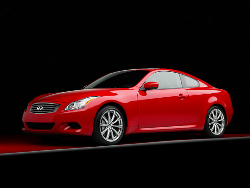 AUT 43 RK0199 01 © Kimball Stock 2008 Infiniti G37 Sport 6MT Red 3/4 Front View Studio
